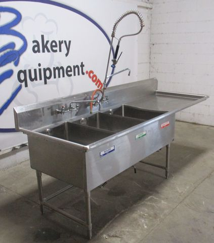 John Boos Stainless Steel 3 Compartment Sink Pre Owned