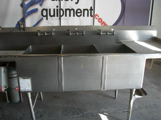 3 Compartment Sink With Garbage Disposal And Faucets Pre